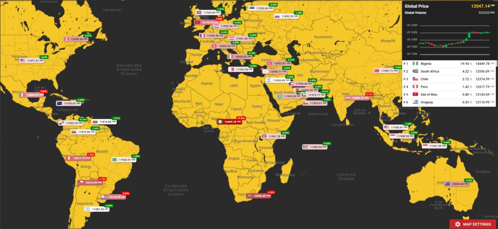 Bitcoin prijs per land