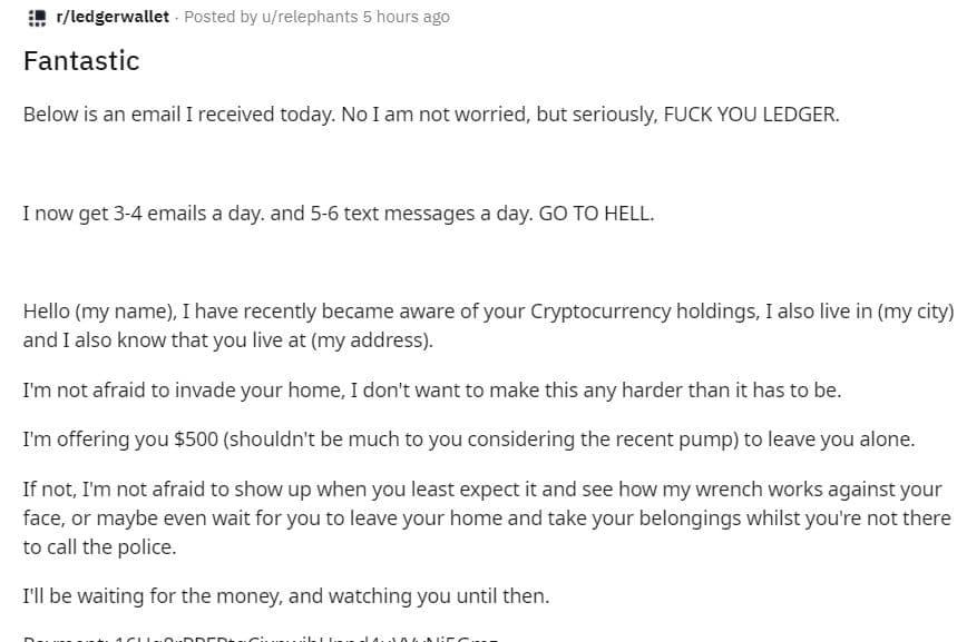 Ledger scam home invasion
