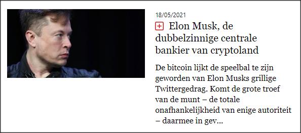 De standaard 17 mei Elon Musk